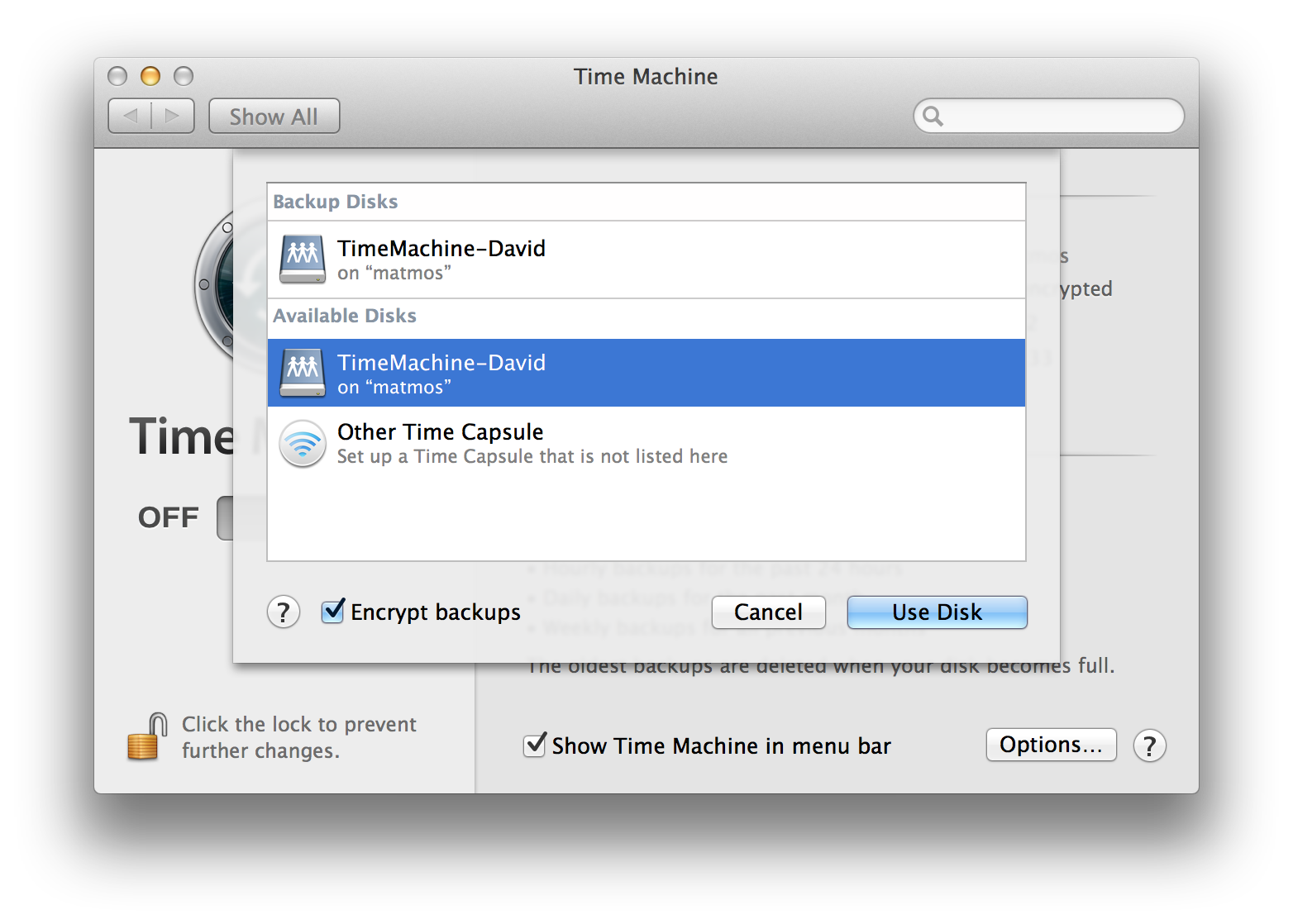 select network share in TimeMachine
